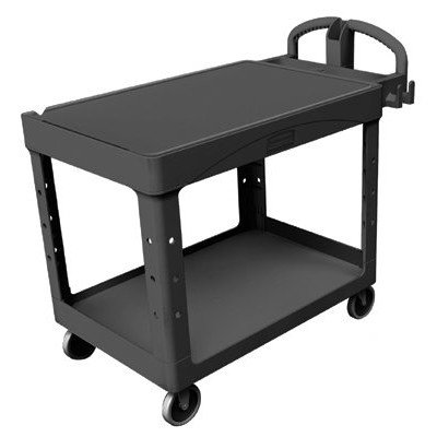 Rubbermaid Commercial Structural Resin Service Cart with Flat Shelf, 2 Shelves, Black, 500 lbs Load Capacity, 36