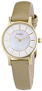 Timex Damen-Armbanduhr XS Women's Classic Slim Profile Analog Quarz Leder T2P313