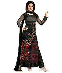 INDIA FASHION SHOP WOMENS BLACK RED NET EMBROIDERED DRESS