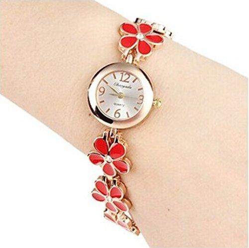 Quartz Movement Brass Strap Lady'S Girl'S Watch Wristwatch Valentine'S Day Gift Red