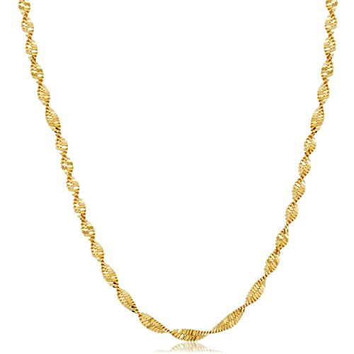 Gold Plated Twisted Disco Simple Chain Necklace For Men & Women (24