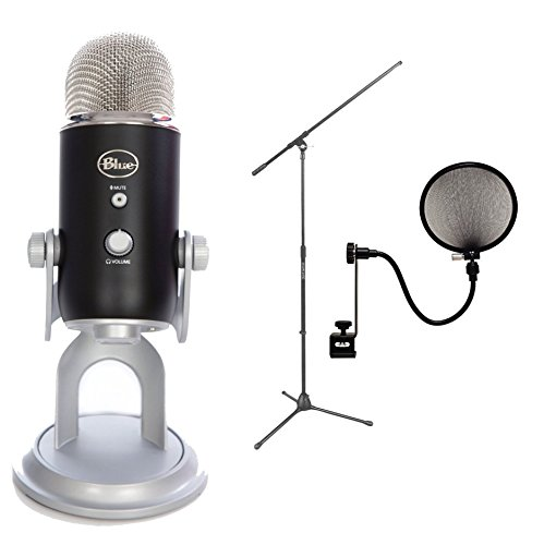 Blue Microphones Yeti Usb Microphone - Premium Black Edition Bundle With Mic Stand And Pop Fliter