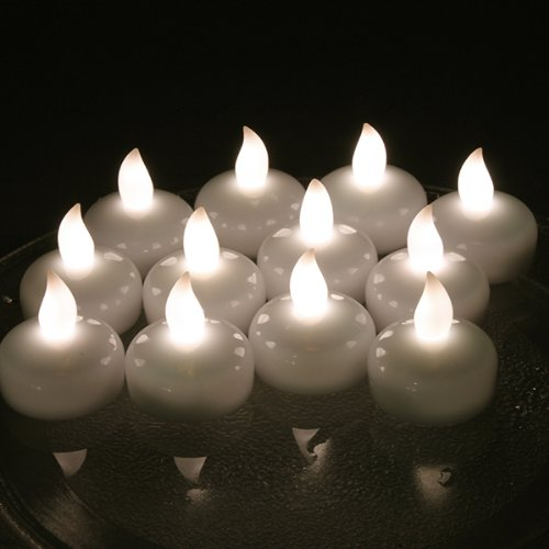 Image® 12 Pcs Warm White Led Floral Flameless Floating Tea Light Candle Battery-Operated For Wedding Holiday Christmas Party Decoration