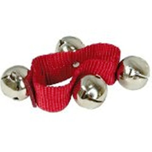 "Jingle Bell Bracelet Assorted Colors Green or RED 1"" Silver Bells Velro Closure"