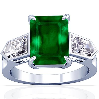 18K White Gold Emerald Cut Emerald Fana Designer Ring
