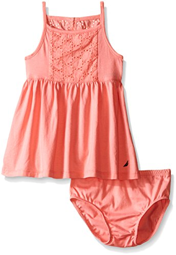 Nautica Baby Jersey Dress with Eyelet Detail, Soft Coral, 12 Months