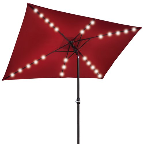 Led Umbrella Amazon: BURGUNDY-NEW 10'x6.5' OUTDOOR SOLAR POWERED 26 LED LIGHTS