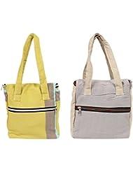 VS Exporrts Cotton 6 Liters Multi-Color Lunch Bag (Combo Of 2) - B01HZ1PHVS