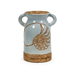 "10.5"" Pale Blue Glazed Nautilus Seashell Clay Urn with Handles"