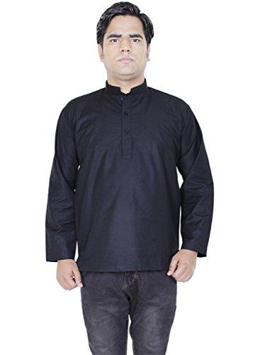 Mens Fashion Cotton Short Kurta Button Up Long Sleeve T-Shirts Tees -Size L