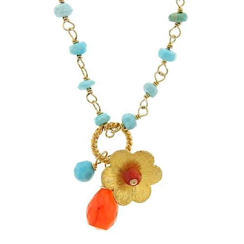 Turquoise & Carnelian Flower Charm Necklace