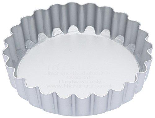 Master Class Petit moule à tarte/quiche anodisé avec cannelures et fond amovible Argenté 10 cm