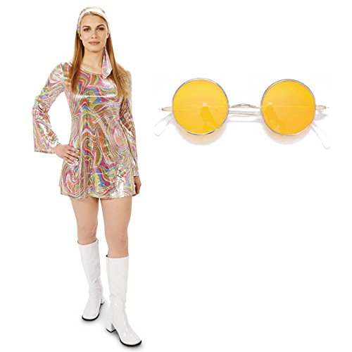 Hippie Disco Girl Adult L Costume Bundle Set (Austin Powers Girl Costume)