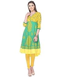 Aamii Women Block Printed Anarkali Kurta (Aamii-821-S, Green, Yellow, Small)
