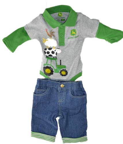 John Deere Heather Infant Long Sleeve Onesie And Jeans Set-6 Months front-771755