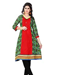 Aria Party Wear 3/4 Sleeve Printed Multicolor Cotton Women's Kurti - B00XW1OICA