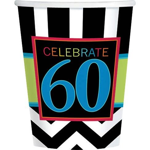 Chevron Mix 60th Birthday 9oz Cups (8 Pack) - Party Supplies