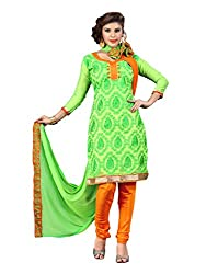 FadAttire Self Designed Chandheri Suit with Printed Dupatta-Green-FARA05