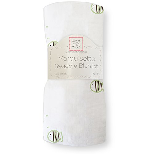 SwaddleDesigns Marquisette Swaddling Blanket, Striped Fish, Kiwi