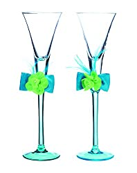 Lillian Rose Toasting Flute Glasses, 10.5-Inch, Blue/Green