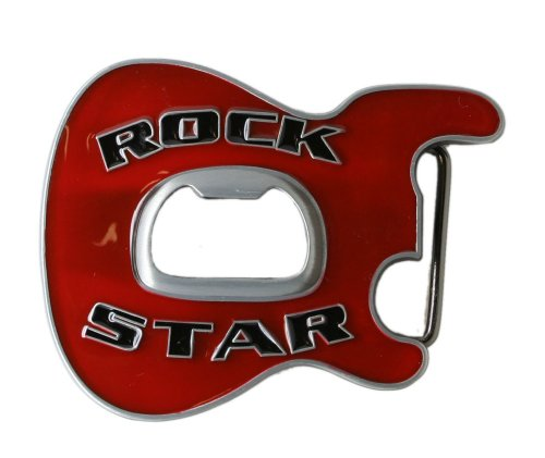 Rock Star Guitar Belt Buckle with Bottle Opener