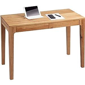 HomeTrends4You 611122 Schreibtisch, 110 x 76 x 55 cm, Wildeiche massiv geölt, mit Schubladen