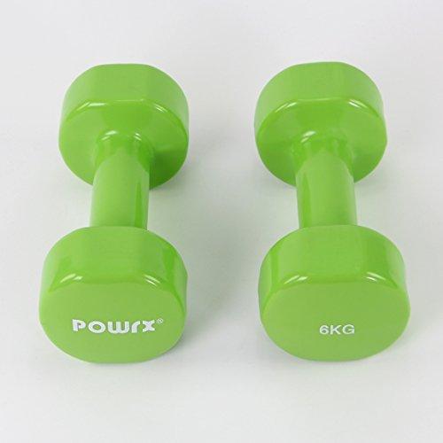 Manubri pesi in vinile 2 x 6 kg, 2 x 7 kg, 2 x 8 kg, 2 x 9 kg, 2 x 10 kg (Verde, 2 x 6 kg)