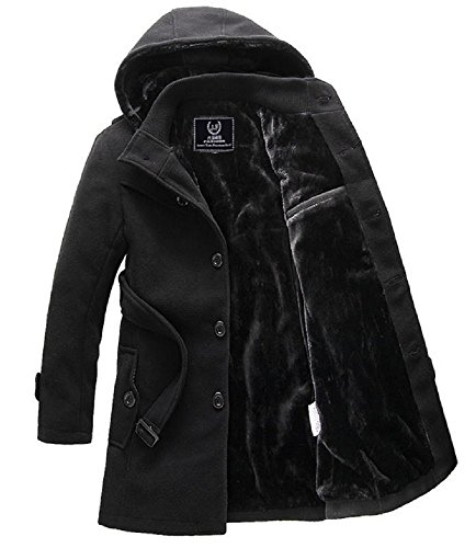 Spinas(スピナス) メンズ 冬 コート 裏ボア ベルベット 防寒 フード 取り外し ビジネス カジュアル 全2色 ダークグレー ブラック (XXL, ブラック)