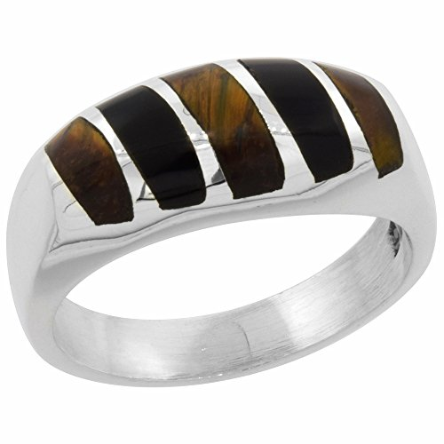 Sterling Silver Black Obsidian & Tiger Eye Ring for Men Oval Vertical Stripes Solid Back Handmade, size 9