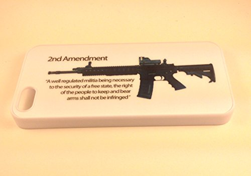 Second Amendment 2Nd Ar-15 Iphone 5/5S Hard Thin Plastic Snap On Case White Assault Rifle Gun Rights