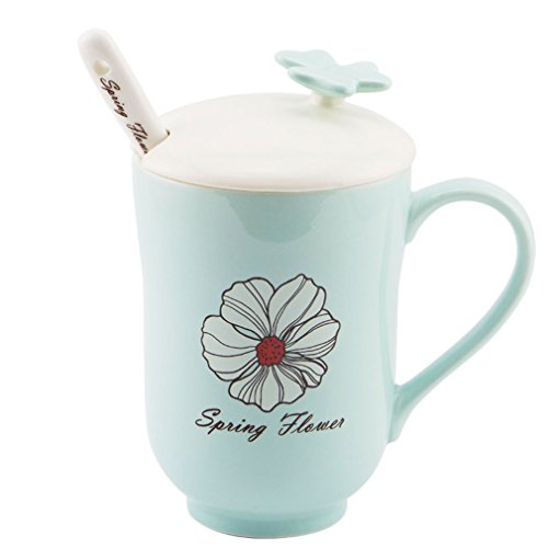 Pretty Housekeepper Brightcolor Elegant Coffee mug with lid 460ml Ceramic mug Porcelain Tea Coffee Cup Set with spoon,15oz,Blue Flower
