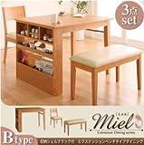 IKEA・ニトリ好きに。収納シェルフラック付 エクステンションテーブルベンチダイニングシリーズ【Miel】ミエル/3点セット(Bタイプ) | ハニーナチュラル