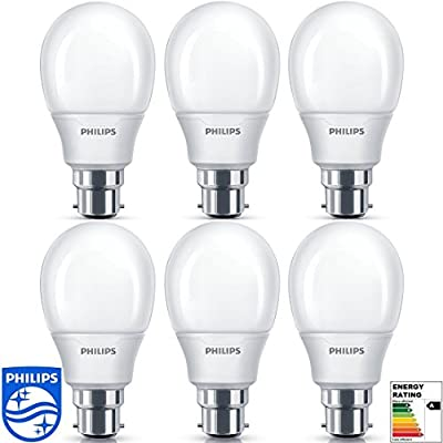 "Philips® Energy Saving Light Lamp Bulb Bayonet Pin BC Cap B22 11w 60w Warm White (Pack of 6) - Low Energy Lamps, 6 Years, Warm White 240v ""A"" Rated Six Lamps [Energy Class A]"