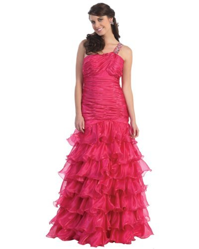 Fine Brand Shop Ladies Fuchsia Ruffle Beaded One Shoulder Long Evening Dress - X-Large