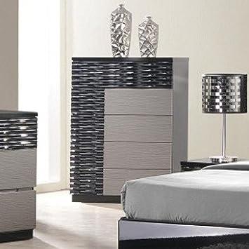 J&M Furniture Roma Chest in Black & Grey Lacquer