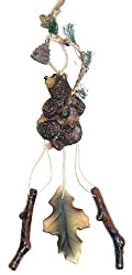 "10"" Kenai Brown Bear Grasping A Branch Wind Chime Christmas Ornament"