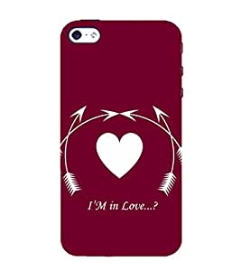 99Sublimation I am In love 3D Hard Polycarbonate Back Case Cover for Apple iPhone 5S