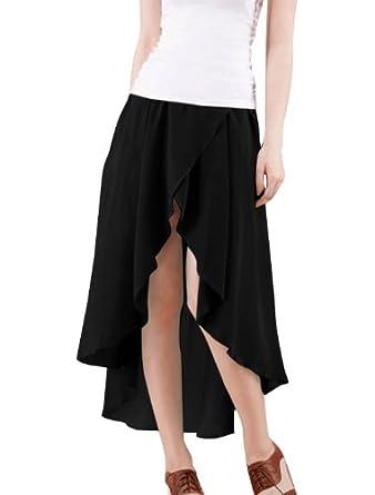 15885ecde4c795 Allegra K Women Asymmetrical Hem Elastic Waist Split Front Chiffon Skirt