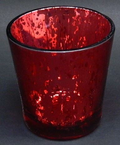 Tealight Led Candle Lamp Stained Red Round Glass Cup My-1269