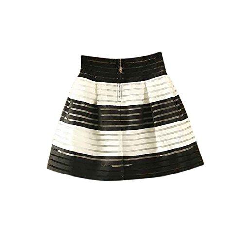 Sannysis® Donne vita alta Tutu Zipper Pieghe Midi elastico Organza Gonna (nero + bianco)