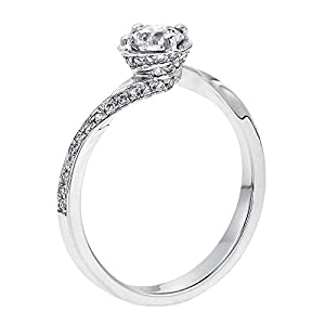 GIA Certified 14k white-gold Round Cut Diamond Engagement Ring (0.55 cttw, D Color, VS2 Clarity)