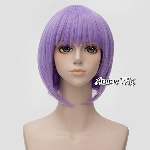 [12 Inches/30cm Short Straight Light Purple BOBO Style Anime Cosplay Wig+Cap] (Ayane Cosplay Costumes)