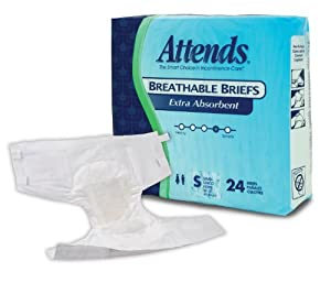 Attends Extra Absorbent Breathable Briefs size Small, (Pack of 96) from Attends