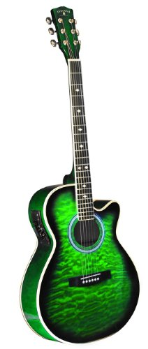INDIANA Madison MAD-QTGR Acoustic-Electric Guitar – Green Sunburst