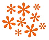 Orange Flower Bicycle Reflector Reflective Sticker Decal