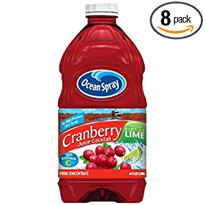 Ocean Spray Cranberry Juice Cocktail With  Hint of Lime, 64-Ounce (Pack of 8)
