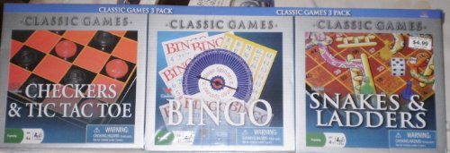Classic Games 3 Pack - Checkers & Tic Tac Toe, Bingo, Chinese Checkers
