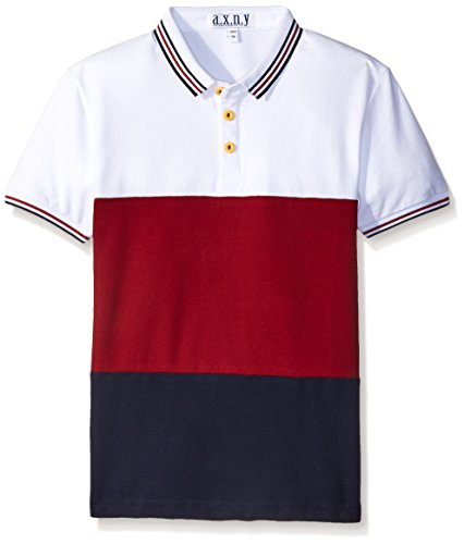 a.x.n.y Big Boys Tri-Color Block Polo, White, 14/16