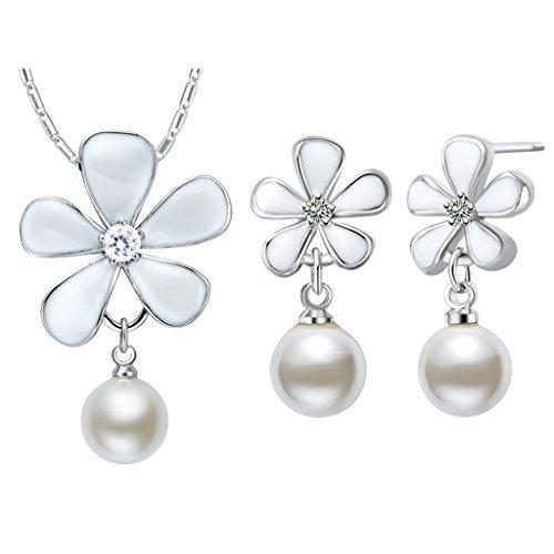 Epinki, Platinum Plated Fashion Jewelry Set Pendant Necklace Earrings Zircon