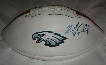 Brent Celek Autographed Philadelphia Eagles Logo Football W/PROOF, Picture of Brent Signing For Us.